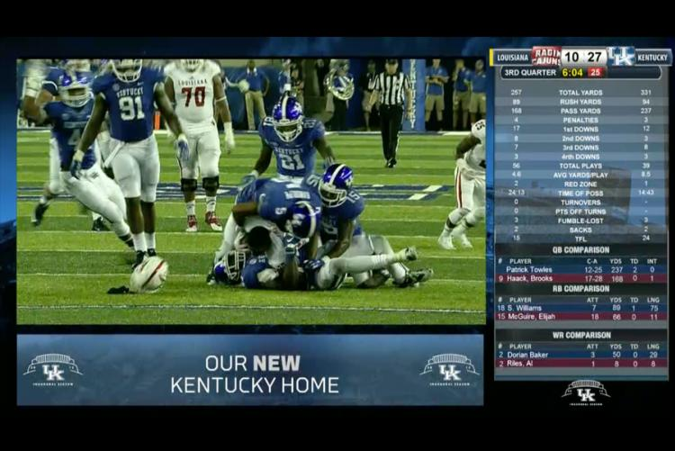Live game day IPTV distribution with real time stats on right side and promo messages on bottom